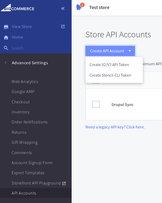 BigCommerce Store API Accounts page