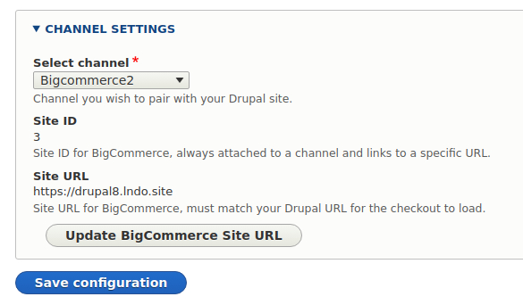 BigCommerce configuration page in Drupal - Channel settings