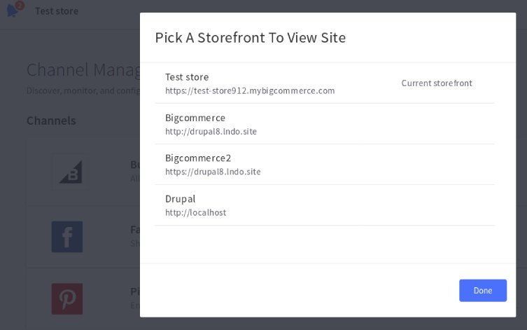 Channel Manager storefront confirmation in BigCommerce