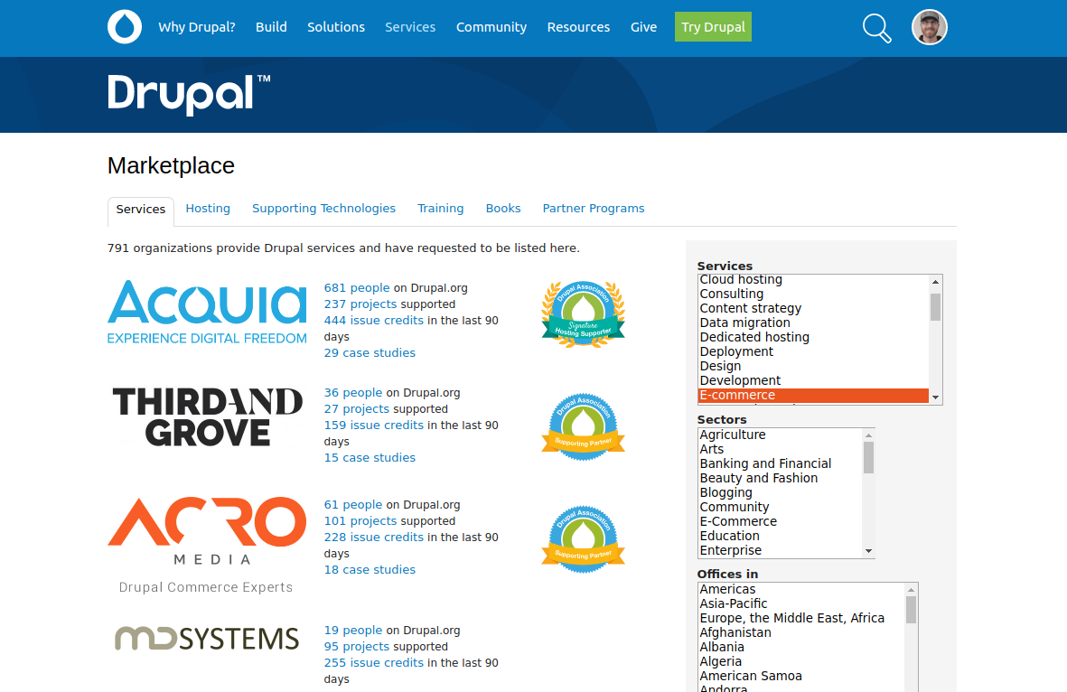 Drupal.org marketplace showing companies specialized in ecommerce