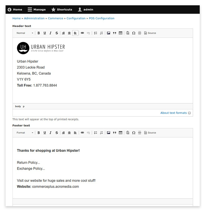 Drupal Point of Sale cusomized receipts